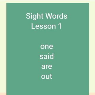 Sight Words Lesson 1
