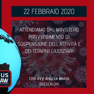 BREAKING NEWS - ATTENDIAMO DAL MINISTERO PROVVEDIMENTO DI SOSPENSIONE DELL'ATTIVITÀ E DEI TERMINI GIUDIZIARI - Avv. Angela Maria Odescalchi
