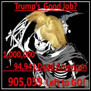1,000,000 DEAD AMERICAN'S we are heading for! We are at 94,941 DEAD this is trump's good Job! #Republicans
