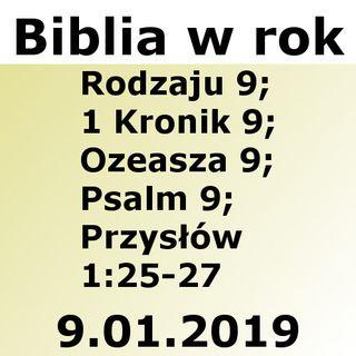 009 - Rodzaju 9, 1 Kronik 9, Ozeasza 9, Psalm 9, Przysłów 1:25-27