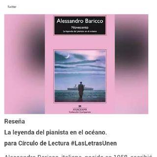 """5. Libro. #LasLetrasUnen recomienda """"Novecento. La leyenda del pianista en el océano."""" Reseña"""