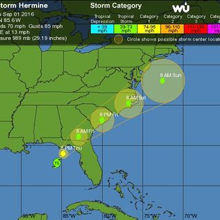 Tropical Storm Hermine Strengthening