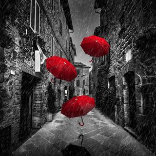 Walking in rain under a red umbrella - Part Three
