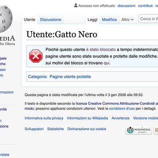 Claudio Mastroianni - Gatto Nero, Il blocco su Wikipedia (ITA)