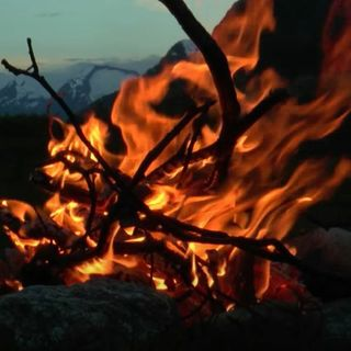 Campfire By Mountain Stream Sounds