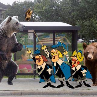 Three Meet Three At The Bus Stop