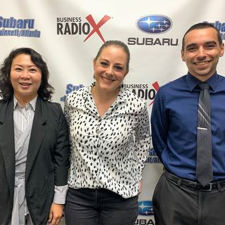 Michelle Kang with the Korean American Chamber of Commerce and Gabrielle Mills & David Lopez with Sourced.
