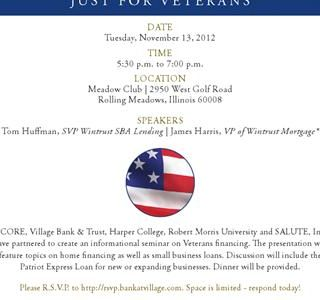 PATRIOT EXPRESS LOAN SEMINAR Nov 13th,6pm Meadows Club