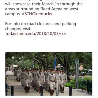 Traffic changes for Saturday's Texas A&M-Kentucky game due to Corps of Cadets march in from west campus