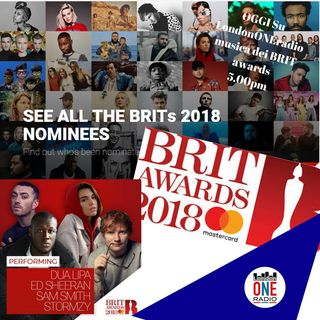 The BRIT Awards 2018 suoneremo brani di  Ed Sheeran - Dua Lipa - Justin Timberlake - Rag'n'Bone Man e tanto altro