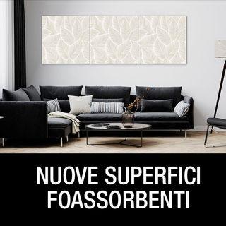 Nuove superfici fonoassorbenti effetto muro, cemento e stampe grafiche