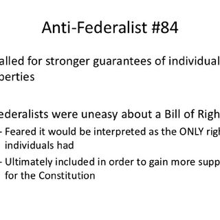 "Antifederalist Paper 84 ""ON THE LACK OF A BILL OF RIGHTS +"