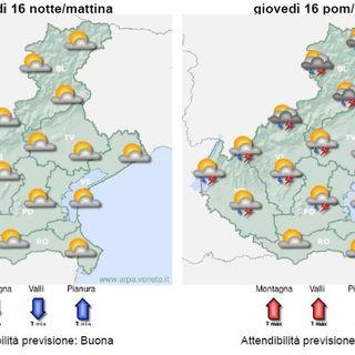 Previsioni meteo 15-17 luglio: nuvole e rasserenamenti sul Vicentino, variabile nel weekend
