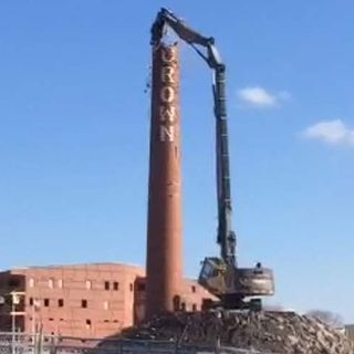 South Boston's Loyal Crown Linen Smokestack Demolished