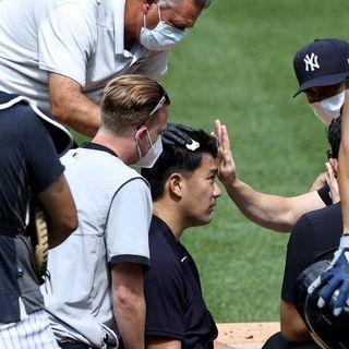 Masahiro Tanaka golpeado en la cabeza por linea de Stanton