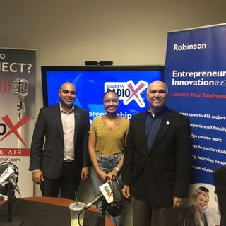 Samir Patel Instructor of Entrepreneurship at GSU and Owner at Thrive Logistics, Dr. Paul Lopez with TiE Atlanta and Sigourney Chavez with Z