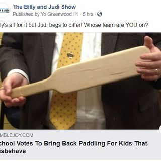 Texas School Brings The Paddle Back.  Is This Good Or Bad?  The Debate Rages