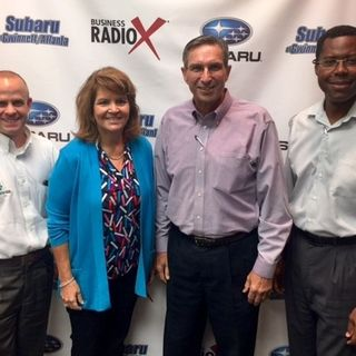 SIMON SAYS, LET S TALK BUSINESS: Scott Deaton with Dataforensics, Nancy McGill with Cartridge World Lawrenceville, and Andy Morgan with the