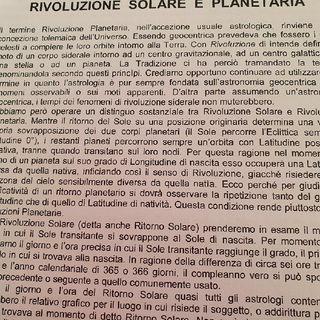 Rivoluzione Solare e Planetaria