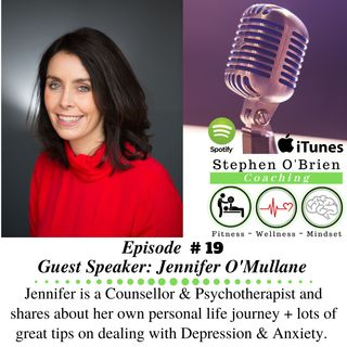 Jennifer O'Mullane - Counsellor & Psychotherapist - dealing with Depression & Anxiety.