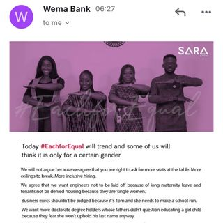 Wema Banks Each For equals is just a propaganda.