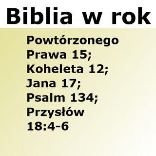 168 - Powtórzonego Prawa 15, Koheleta 12, Jana 17, Psalm 134, Przysłów 18:4-6