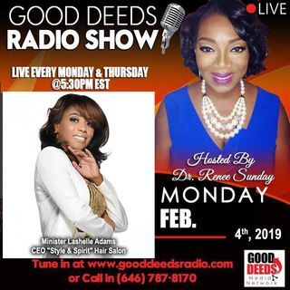 Minister Lashelle Adams Ceo Style Spirit Hair Salon shares on Good Deeds Show