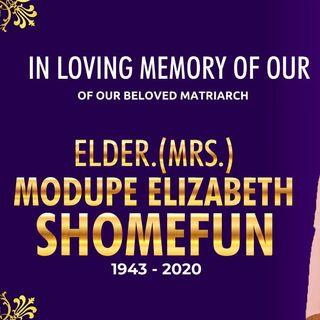 COMMENDATION NIGHT FOR ELDER. ( MRS) MODUPE ELIZABETH SHOMEFUN
