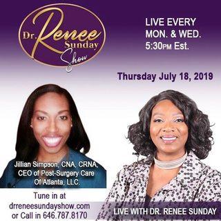 Jillian Simpson CNA CRNA share on The Dr. Renee Sunday Show