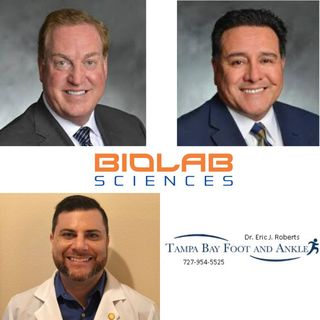 Bob Maguire Jaime Leija with BioLab Sciences and Dr Eric Roberts with Tampa Bay Foot and Ankle