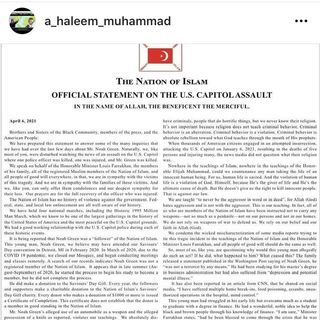 Nation of Islam response on Noah Green