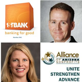 3C AMPLIFIED FirstBank Phoenix Market President Bryce Lloyd and Jennifer Purcell with Alliance of Arizona Nonprofits