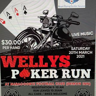 Welly's poker run taking off from Naracoorte Footy Club Saturday 20 March from 9am raising money for @RoyalFlyingDoc