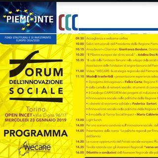 Tutto Qui - lunedì 21 gennaio - Il Forum sull'innovazione sociale a Torino