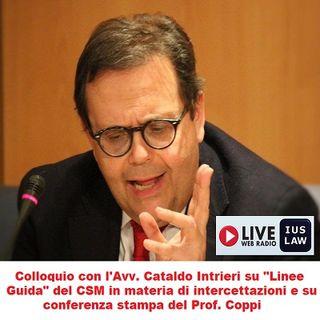 Colloquio con l'Avv. Cataldo INTRIERI: Linee Guida del CSM su intercettazioni e conferenza stampa del Prof. Coppi