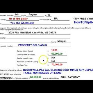 How To Fill Out My 1 Page Contract for Wholesaling Houses Real Estate Contract Assignment