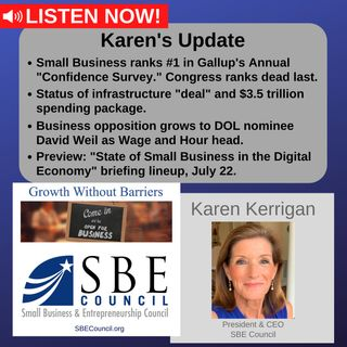 """Small biz ranks #1 in """"Confidence Survey""""; infrastructure & budget, DOL/David Weil nomination; SBE Council Hill Briefing, July 22, 1 pm ET."""