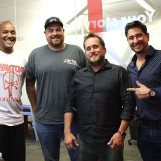 E6 Point in Time Studios President Rami Kalla and AZCFL League Owner Matt Archer and Team Owners Derrick and Amy Parham