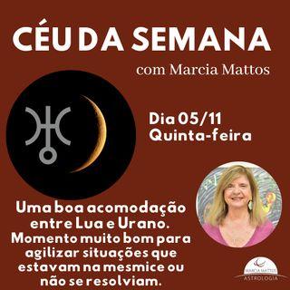 Céu da Semana - Quinta, dia 05/11: Uma boa acomodação entre Lua e Urano.