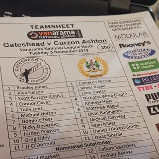 Live Commentary: Gateshead Vs Curzon Ashton (National League North)