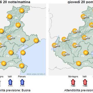 Previsioni meteo 19-21 agosto: da mercoledì temperature in salita, sabato il picco