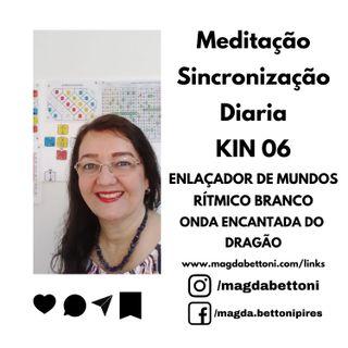 Meditação Sincronização  Diaria - Kin 6 - ENLAÇADOR DE MUNDOS RÍTMICO BRANCO