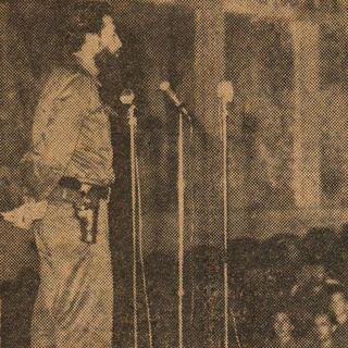 Camilo en la clausura del primer curso de la Escuela de Oficiales del Ejército Rebelde