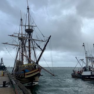The newly renovated Mayflower 2 seeks refuge from the storm in New Bedford