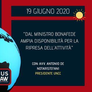 """BREAKING NEWS – """"DAL MINISTRO BONAFEDE AMPIA DISPONIBILITÀ PER LA RIPRESA DELL'ATTIVITÀ"""""""