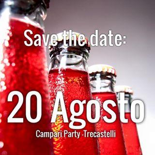 CAMPARI PARTY TreCastelli, in diretta SABATO 20 AGOSTO dalle 17.30 - Caffè Centrale, Piazza Leopardi RIPE