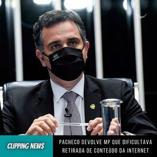 Pacheco devolve MP que dificultava retirada de conteúdo da internet
