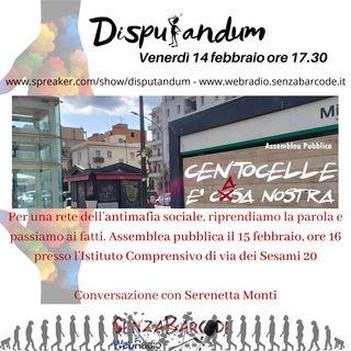 Rete Sociale Antimafia, Assemblea pubblica il 15 febbraio a Centocelle. Conversazione con Serenetta Monti