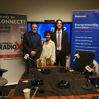 Dr. Nelson Pizarro with GSU & EgoStatic Industries LLC and Elijah Sullivan & Jasmin Chestnut with Social Entrepreneurship Club