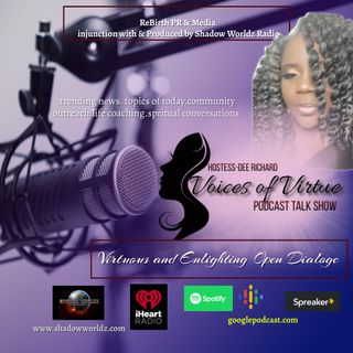 Voices of Virtue host Dee Richard with Guest Master Life Coach Regina Mullen episode
